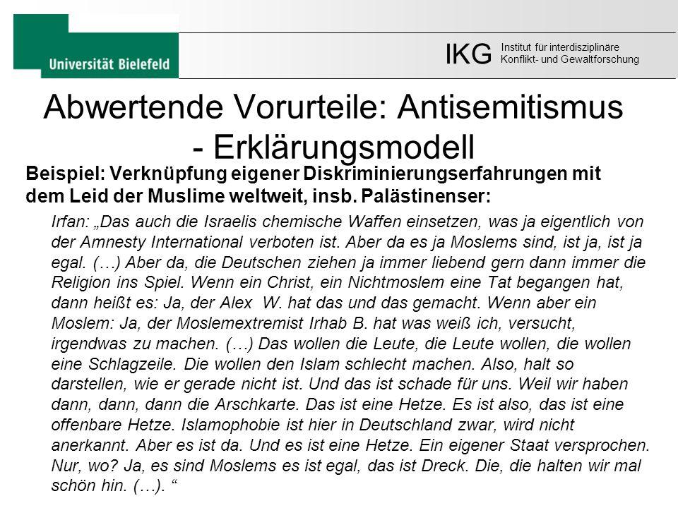 Abwertende Vorurteile: Antisemitismus - Erklärungsmodell Beispiel: Verknüpfung eigener Diskriminierungserfahrungen mit dem Leid der Muslime weltweit,