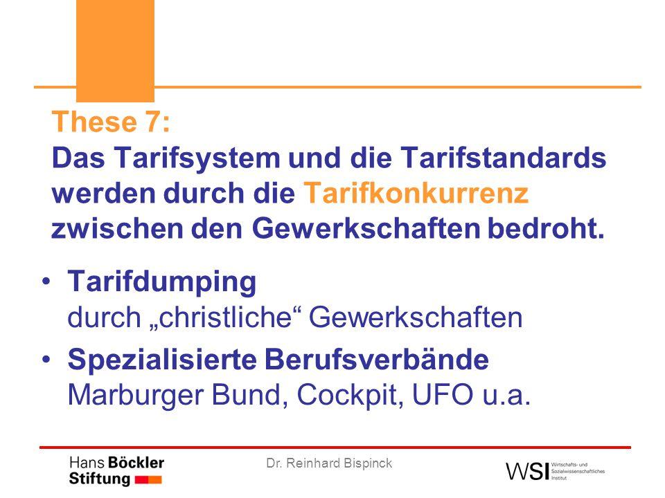 """Dr. Reinhard Bispinck Tarifdumping durch """"christliche"""" Gewerkschaften Spezialisierte Berufsverbände Marburger Bund, Cockpit, UFO u.a. These 7: Das Tar"""