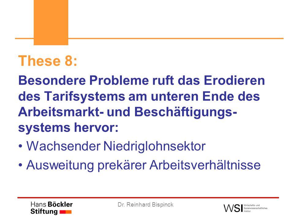 Dr. Reinhard Bispinck These 8: Besondere Probleme ruft das Erodieren des Tarifsystems am unteren Ende des Arbeitsmarkt- und Beschäftigungs- systems he