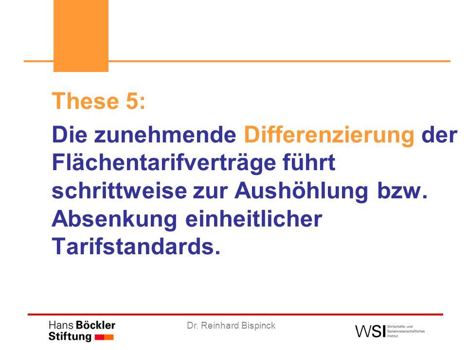 Dr. Reinhard Bispinck These 5: Die zunehmende Differenzierung der Flächentarifverträge führt schrittweise zur Aushöhlung bzw. Absenkung einheitlicher
