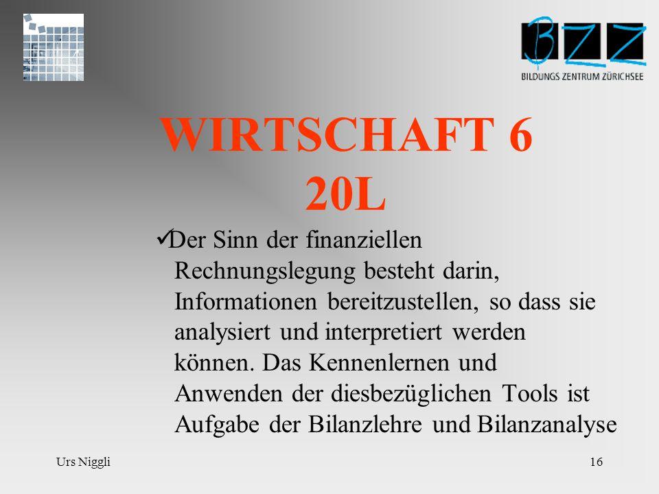 Urs Niggli15 WIRTSCHAFT 5 20L Finanzbuchhalterische Abwicklung von Geschäftsfällen alltäglicher und spezieller Art anhand der Logik; Analysen und Auswertungen