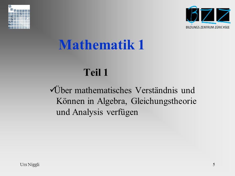 Urs Niggli5 Mathematik 1 Teil 1 Über mathematisches Verständnis und Können in Algebra, Gleichungstheorie und Analysis verfügen