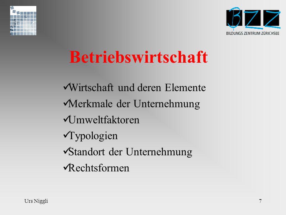Urs Niggli6 WIRT/MAT2 40L Betriebswirtschaft und Mathematik