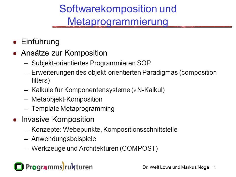 Dr. Welf Löwe und Markus Noga1 Softwarekomposition und Metaprogrammierung Einführung Ansätze zur Komposition –Subjekt-orientiertes Programmieren SOP –