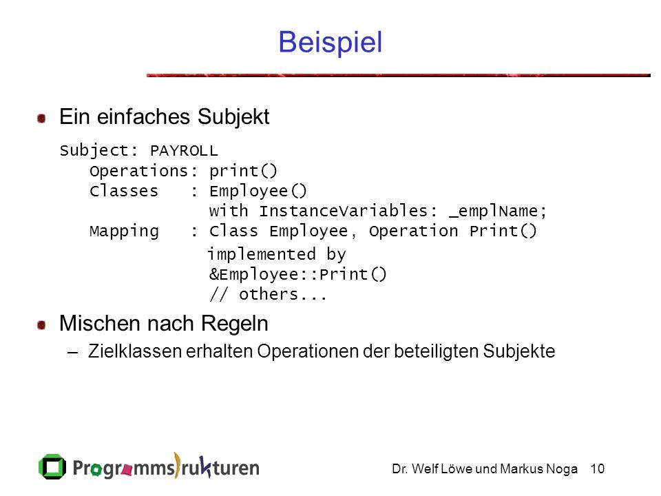 Dr. Welf Löwe und Markus Noga10 Beispiel Ein einfaches Subjekt Subject: PAYROLL Operations: print() Classes : Employee() with InstanceVariables: _empl