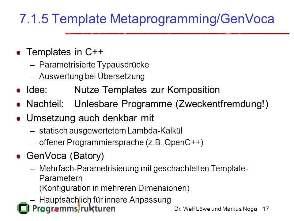 Dr. Welf Löwe und Markus Noga17 7.1.5 Template Metaprogramming/GenVoca Templates in C++ –Parametrisierte Typausdrücke –Auswertung bei Übersetzung Idee