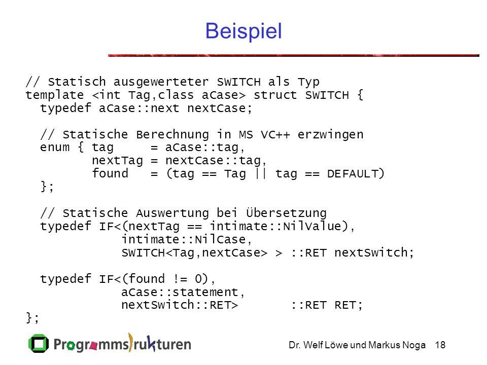 Dr. Welf Löwe und Markus Noga18 Beispiel // Statisch ausgewerteter SWITCH als Typ template struct SWITCH { typedef aCase::next nextCase; // Statische