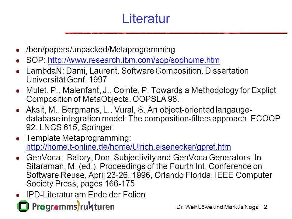 Dr. Welf Löwe und Markus Noga2 Literatur /ben/papers/unpacked/Metaprogramming SOP: http://www.research.ibm.com/sop/sophome.htmhttp://www.research.ibm.