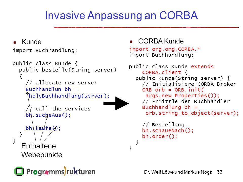 Dr. Welf Löwe und Markus Noga33 Invasive Anpassung an CORBA Kunde import Buchhandlung; public class Kunde { public bestelle(String server) { // alloca