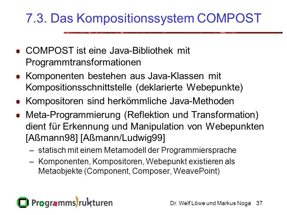 Dr. Welf Löwe und Markus Noga37 7.3. Das Kompositionssystem COMPOST COMPOST ist eine Java-Bibliothek mit Programmtransformationen Komponenten bestehen