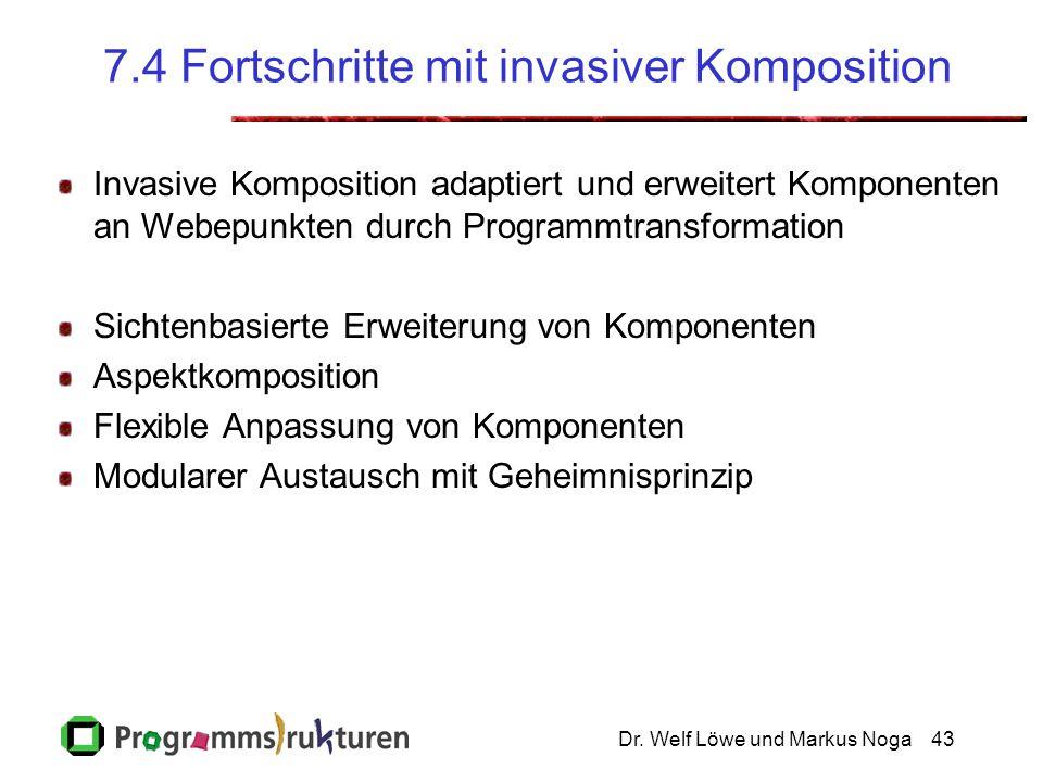 Dr. Welf Löwe und Markus Noga43 7.4 Fortschritte mit invasiver Komposition Invasive Komposition adaptiert und erweitert Komponenten an Webepunkten dur