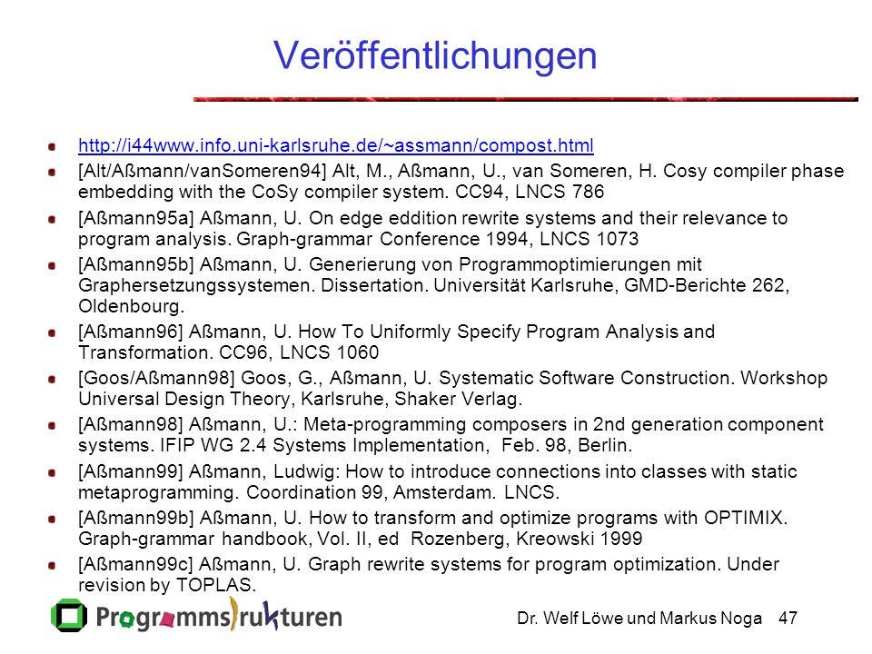 Dr. Welf Löwe und Markus Noga47 Veröffentlichungen http://i44www.info.uni-karlsruhe.de/~assmann/compost.html [Alt/Aßmann/vanSomeren94] Alt, M., Aßmann