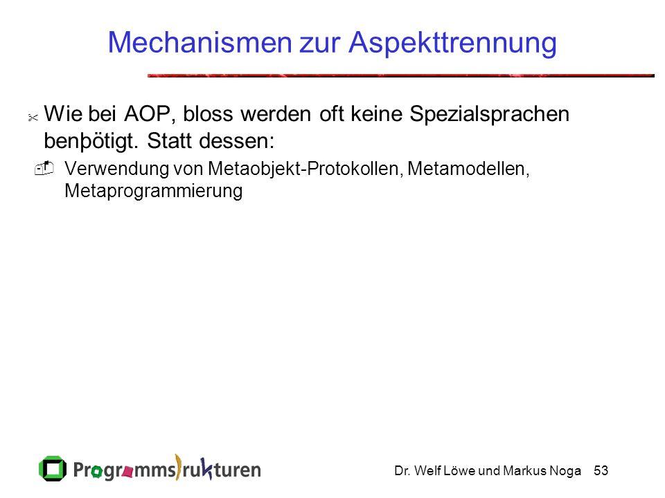 Dr. Welf Löwe und Markus Noga53 Mechanismen zur Aspekttrennung  Wie bei AOP, bloss werden oft keine Spezialsprachen benþötigt. Statt dessen:  Verwen