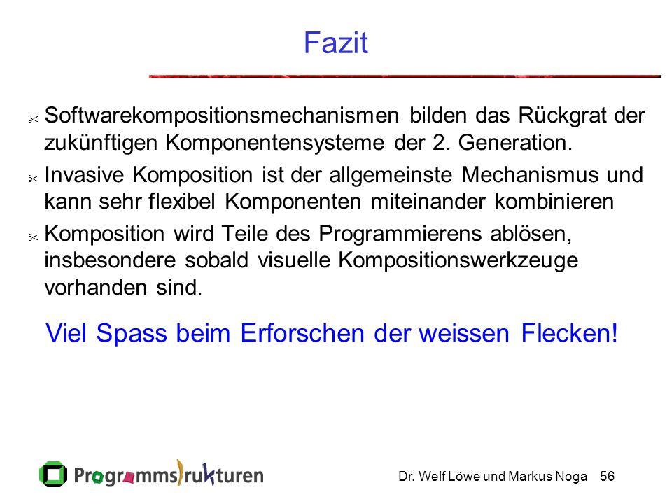 Dr. Welf Löwe und Markus Noga56 Fazit  Softwarekompositionsmechanismen bilden das Rückgrat der zukünftigen Komponentensysteme der 2. Generation.  In
