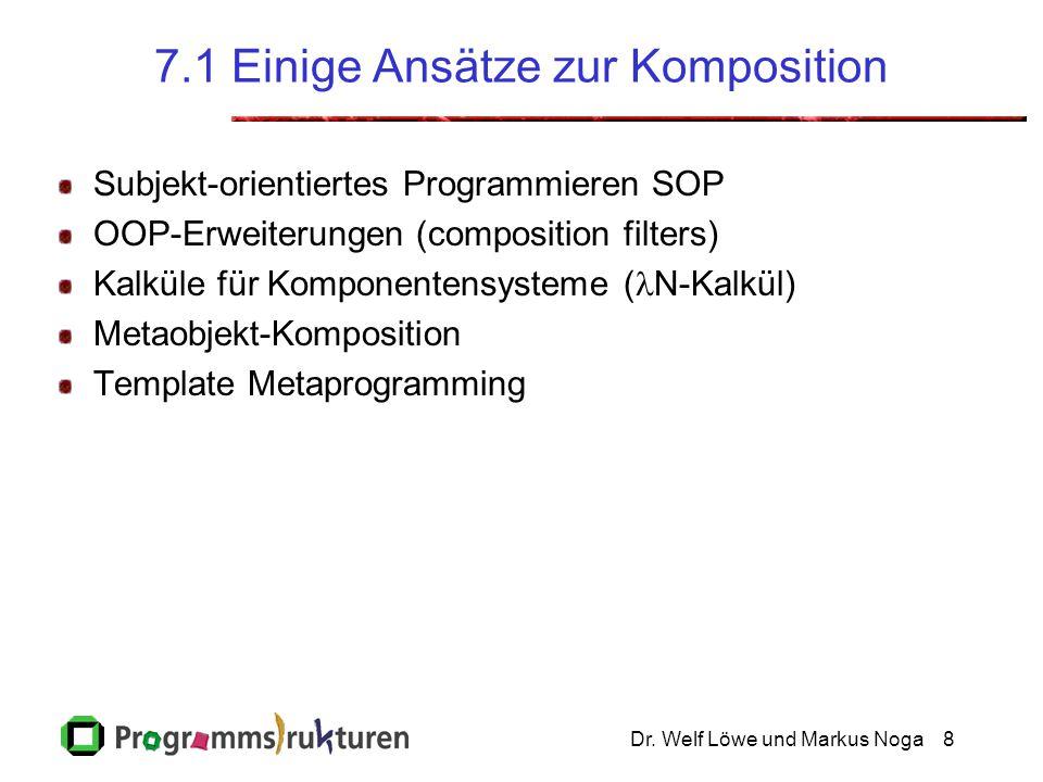 Dr. Welf Löwe und Markus Noga8 7.1 Einige Ansätze zur Komposition Subjekt-orientiertes Programmieren SOP OOP-Erweiterungen (composition filters) Kalkü