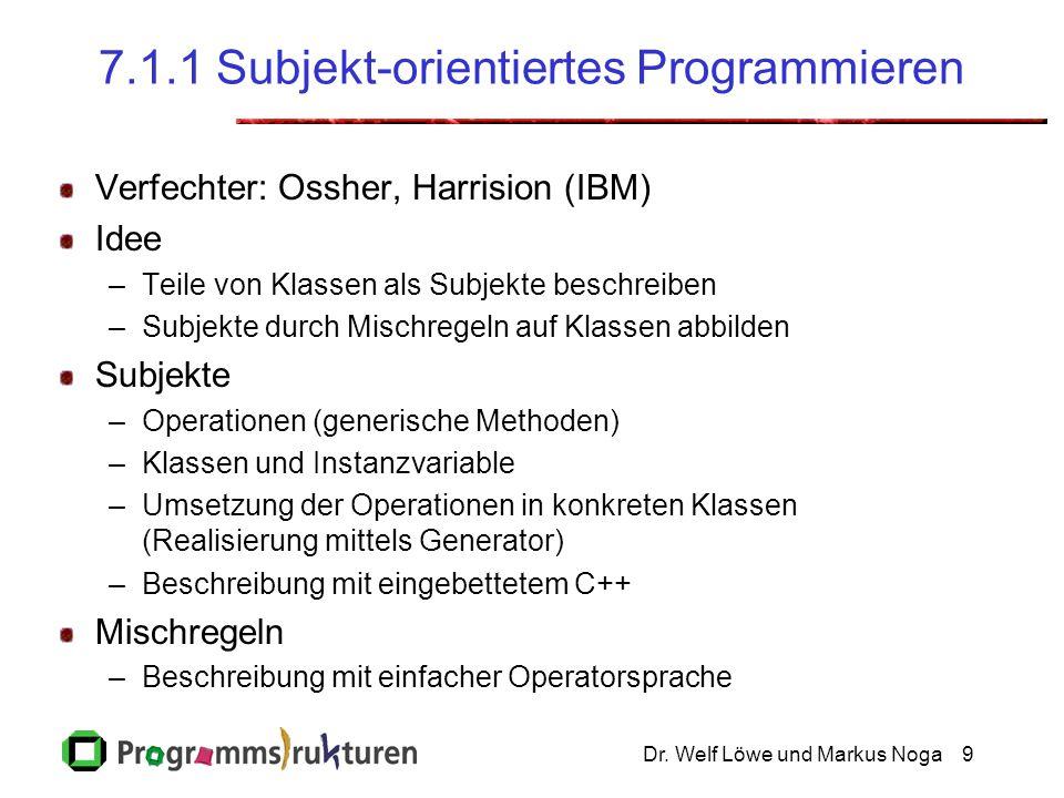 Dr. Welf Löwe und Markus Noga9 7.1.1 Subjekt-orientiertes Programmieren Verfechter: Ossher, Harrision (IBM) Idee –Teile von Klassen als Subjekte besch