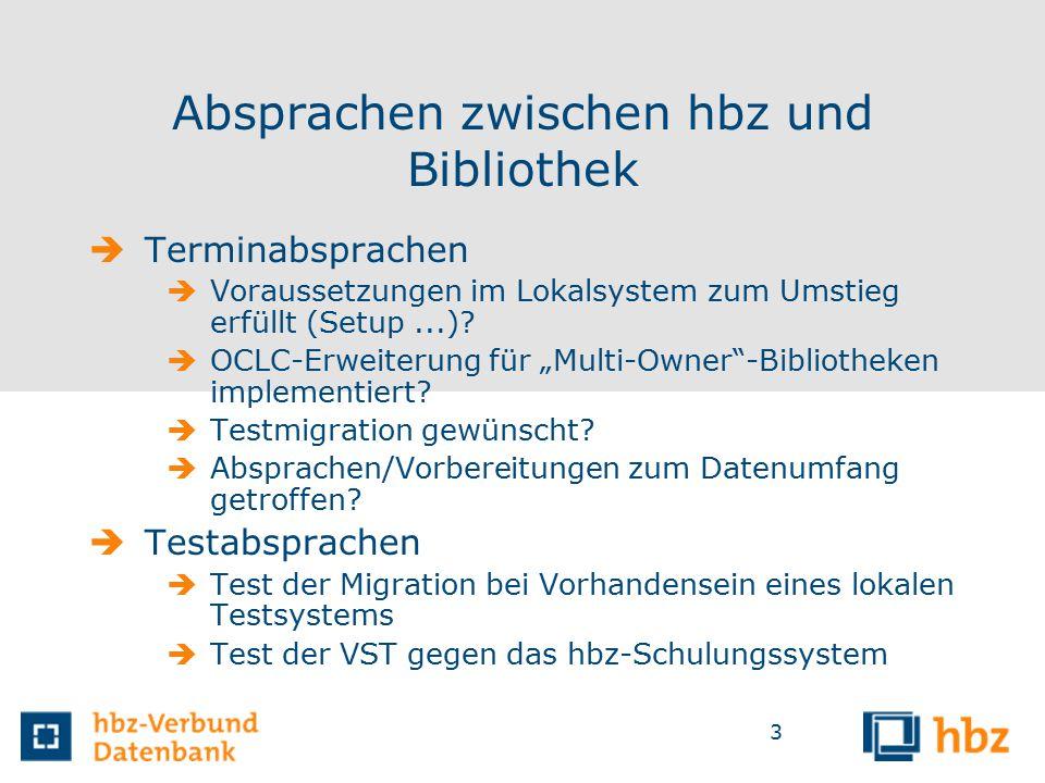 3 Absprachen zwischen hbz und Bibliothek  Terminabsprachen  Voraussetzungen im Lokalsystem zum Umstieg erfüllt (Setup...).