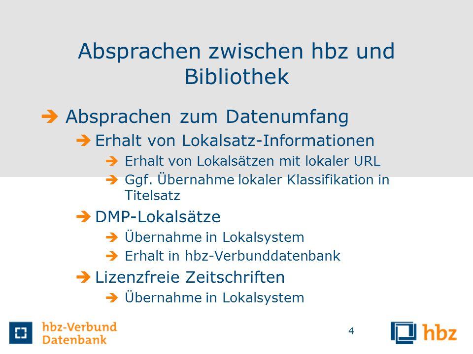 4 Absprachen zwischen hbz und Bibliothek  Absprachen zum Datenumfang  Erhalt von Lokalsatz-Informationen  Erhalt von Lokalsätzen mit lokaler URL  Ggf.