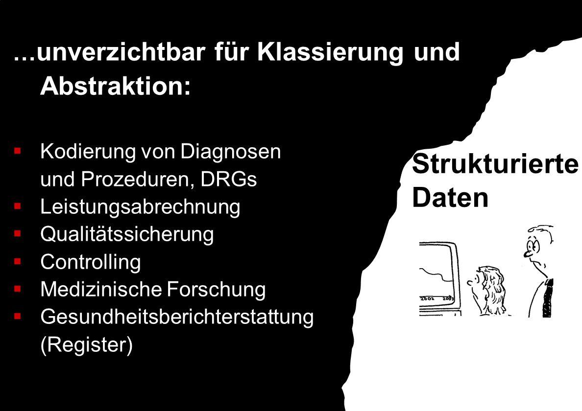 … unverzichtbar für Klassierung und Abstraktion:  Kodierung von Diagnosen und Prozeduren, DRGs  Leistungsabrechnung  Qualitätssicherung  Controlling  Medizinische Forschung  Gesundheitsberichterstattung (Register) Strukturierte Daten