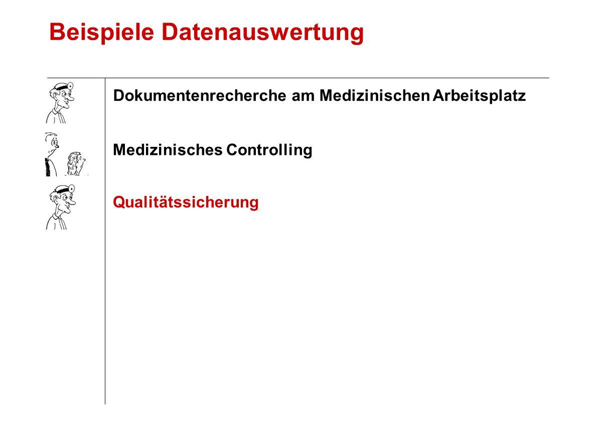 Beispiele Datenauswertung Qualitätssicherung Medizinisches Controlling Dokumentenrecherche am Medizinischen Arbeitsplatz