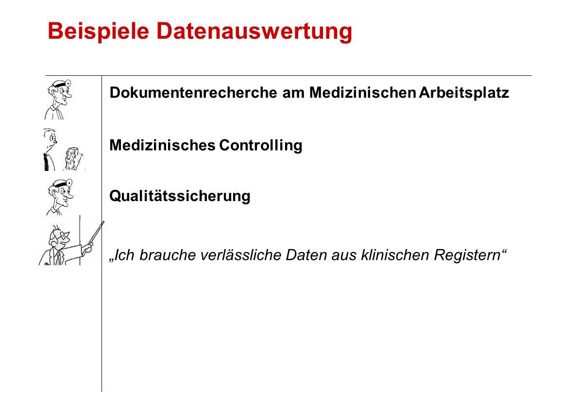 """Beispiele Datenauswertung """"Ich brauche verlässliche Daten aus klinischen Registern Qualitätssicherung Medizinisches Controlling Dokumentenrecherche am Medizinischen Arbeitsplatz"""