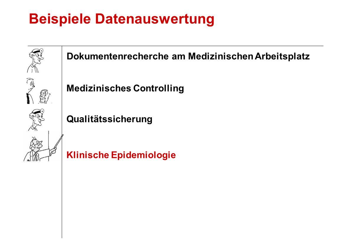Beispiele Datenauswertung Klinische Epidemiologie Qualitätssicherung Medizinisches Controlling Dokumentenrecherche am Medizinischen Arbeitsplatz