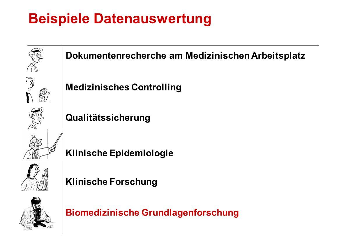 Beispiele Datenauswertung Klinische Forschung Biomedizinische Grundlagenforschung Qualitätssicherung Medizinisches Controlling Klinische Epidemiologie Dokumentenrecherche am Medizinischen Arbeitsplatz