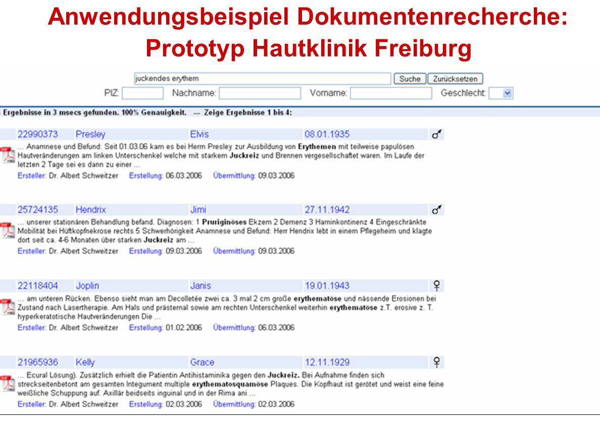 Anwendungsbeispiel Dokumentenrecherche: Prototyp Hautklinik Freiburg