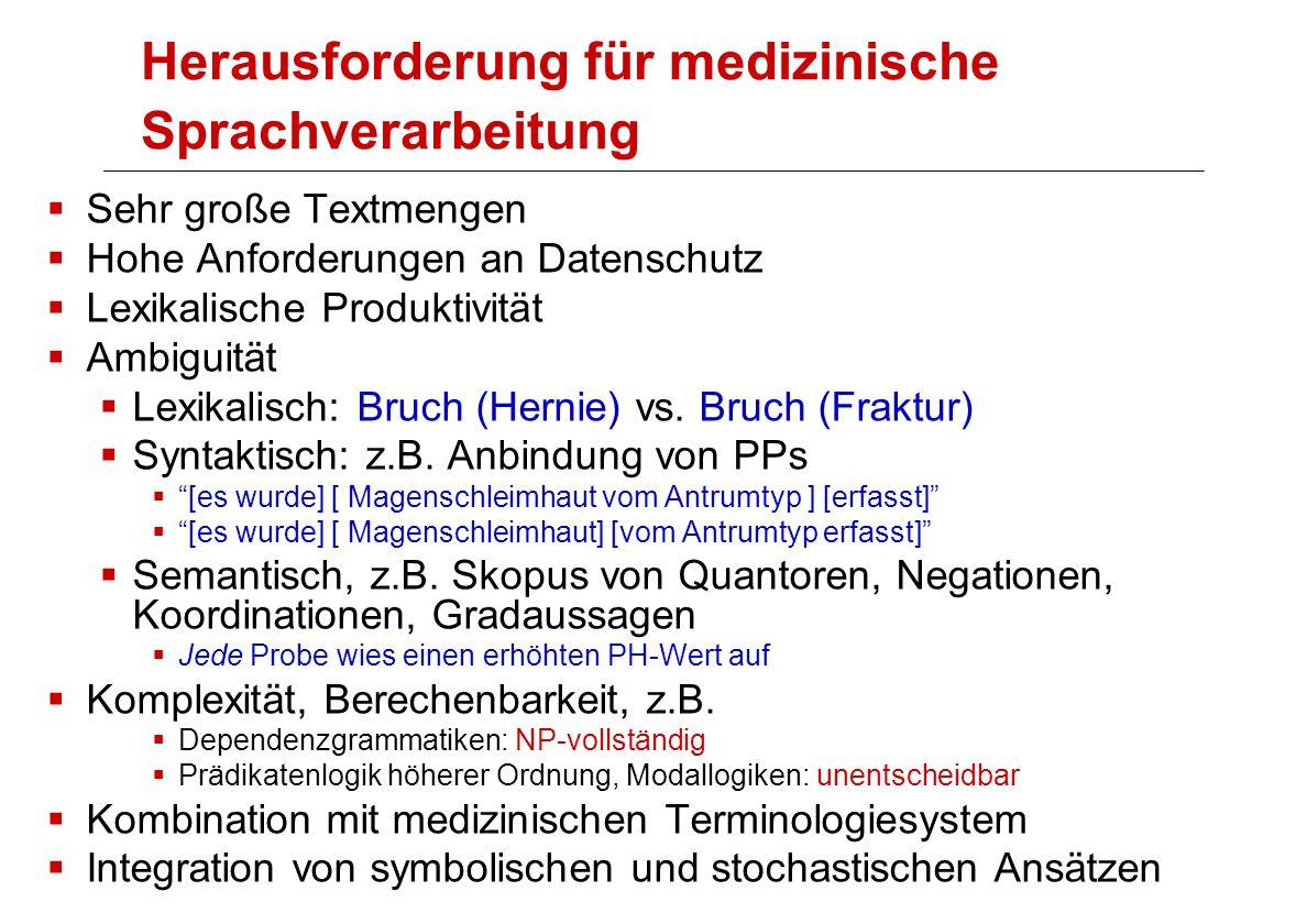 Herausforderung für medizinische Sprachverarbeitung  Sehr große Textmengen  Hohe Anforderungen an Datenschutz  Lexikalische Produktivität  Ambiguität  Lexikalisch: Bruch (Hernie) vs.