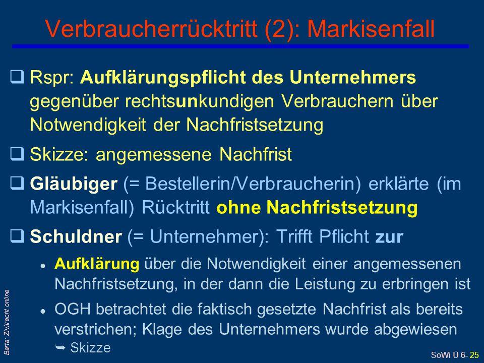 SoWi Ü 6- 25 Barta: Zivilrecht online qRspr: Aufklärungspflicht des Unternehmers gegenüber rechtsunkundigen Verbrauchern über Notwendigkeit der Nachfr