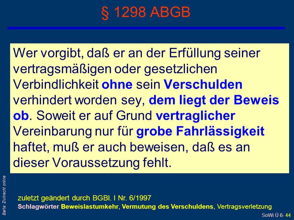 SoWi Ü 6- 44 Barta: Zivilrecht online § 1298 ABGB Wer vorgibt, daß er an der Erfüllung seiner vertragsmäßigen oder gesetzlichen Verbindlichkeit ohne s
