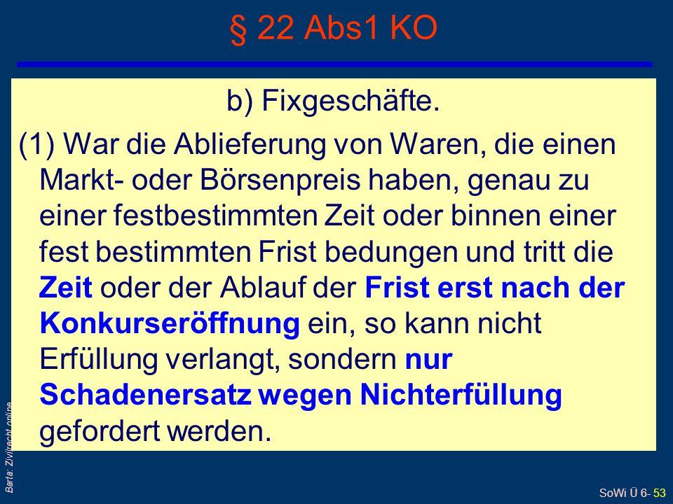 SoWi Ü 6- 53 Barta: Zivilrecht online § 22 Abs1 KO b) Fixgeschäfte. (1) War die Ablieferung von Waren, die einen Markt- oder Börsenpreis haben, genau