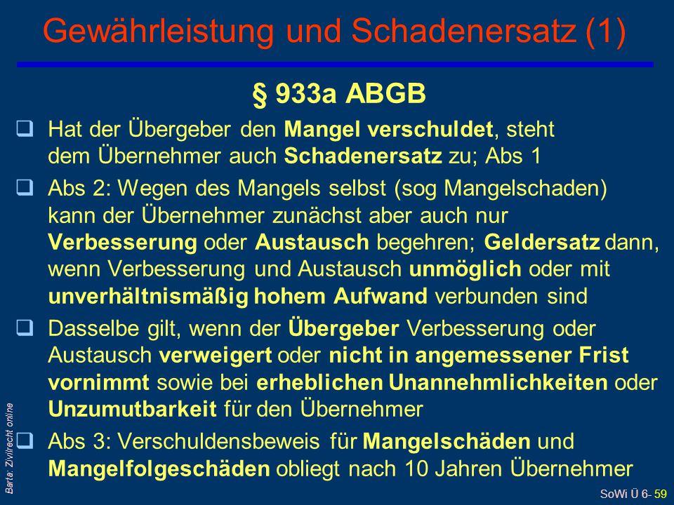 SoWi Ü 6- 59 Barta: Zivilrecht online Gewährleistung und Schadenersatz (1) § 933a ABGB qHat der Übergeber den Mangel verschuldet, steht dem Übernehmer