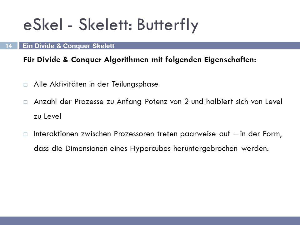 14 eSkel - Skelett: Butterfly Für Divide & Conquer Algorithmen mit folgenden Eigenschaften:  Alle Aktivitäten in der Teilungsphase  Anzahl der Proze
