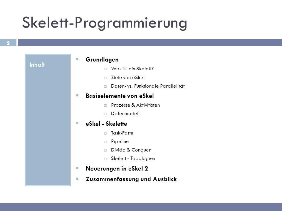 2 Skelett-Programmierung Inhalt  Grundlagen  Was ist ein Skelett?  Ziele von eSkel  Daten- vs. Funktionale Parallelität  Basiselemente von eSkel