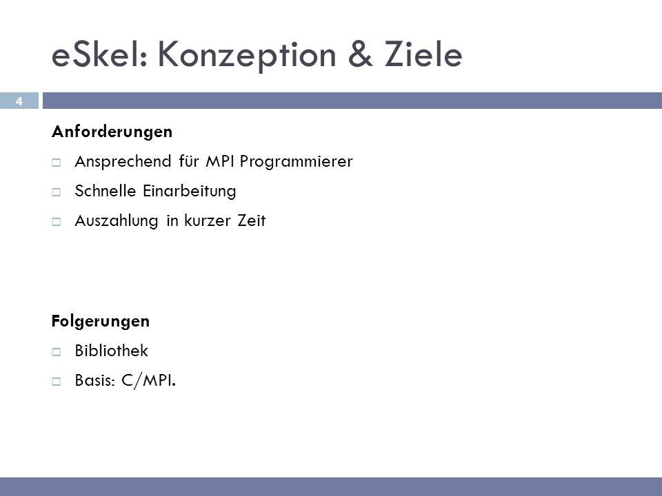 4 eSkel: Konzeption & Ziele Anforderungen  Ansprechend für MPI Programmierer  Schnelle Einarbeitung  Auszahlung in kurzer Zeit Folgerungen  Biblio