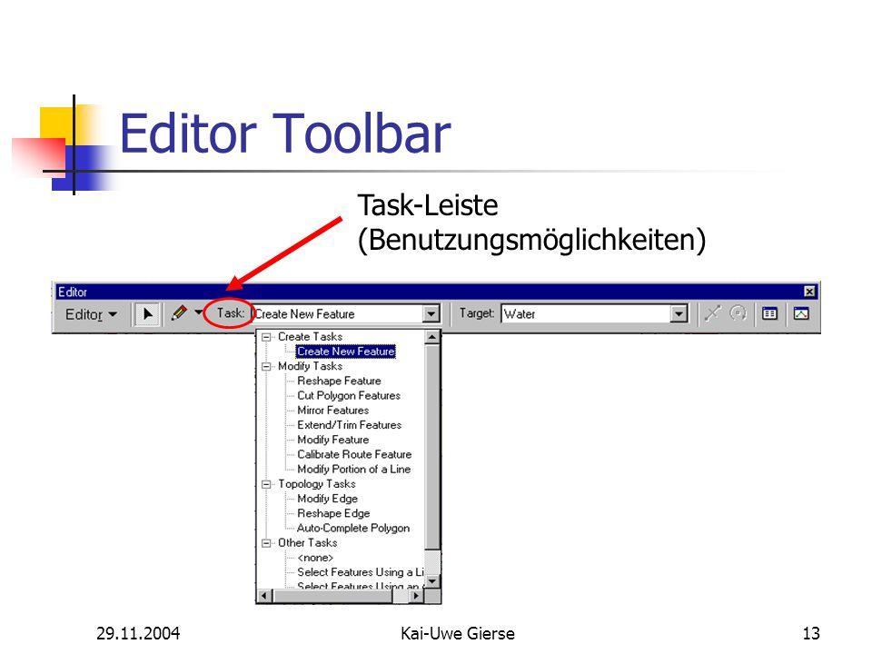29.11.2004Kai-Uwe Gierse13 Editor Toolbar Task-Leiste (Benutzungsmöglichkeiten)