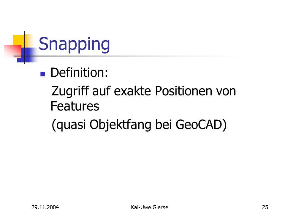 29.11.2004Kai-Uwe Gierse25 Snapping Definition: Zugriff auf exakte Positionen von Features (quasi Objektfang bei GeoCAD)