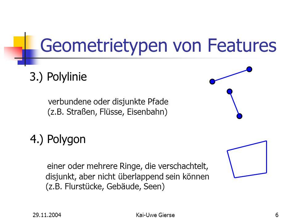 29.11.2004Kai-Uwe Gierse17 Tool Palette Sketch Tool Punkt-Feature: einmaliges Klicken auf Karte Linien-Feature: neues Segment wird bei jeden Mausklick angehangen Flächen-Feature: s.