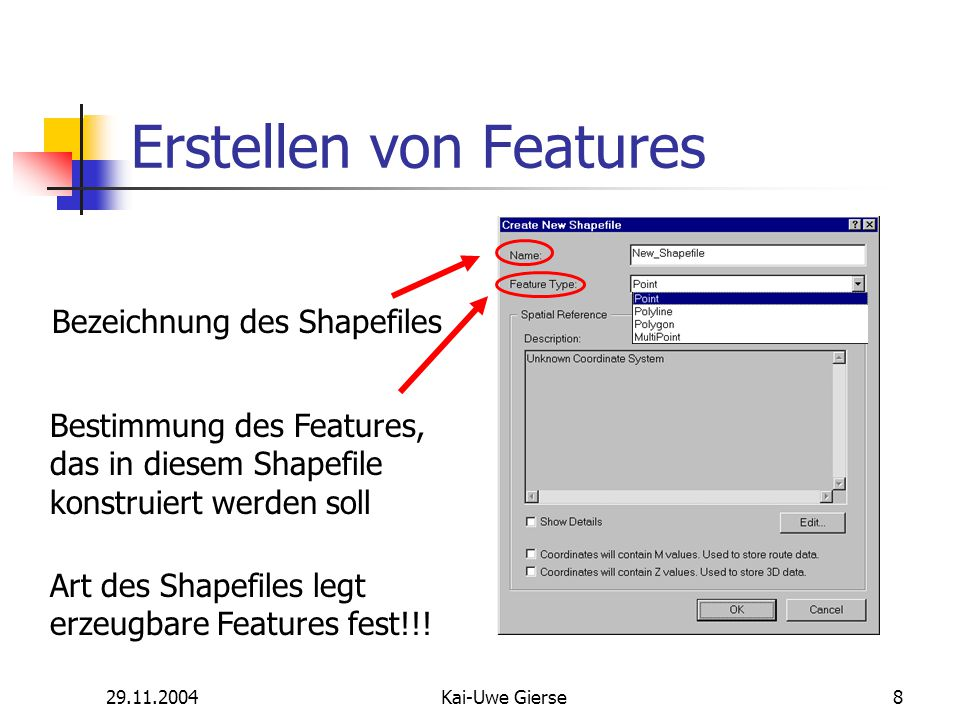 29.11.2004Kai-Uwe Gierse49 Aufgabe 2 Kopiert die Dateien V:\Kai-Uwe\Gebäude_2.shp und Grundstück_2.shp in euer Verzeichnis und öffnet sie mit ArcMap.