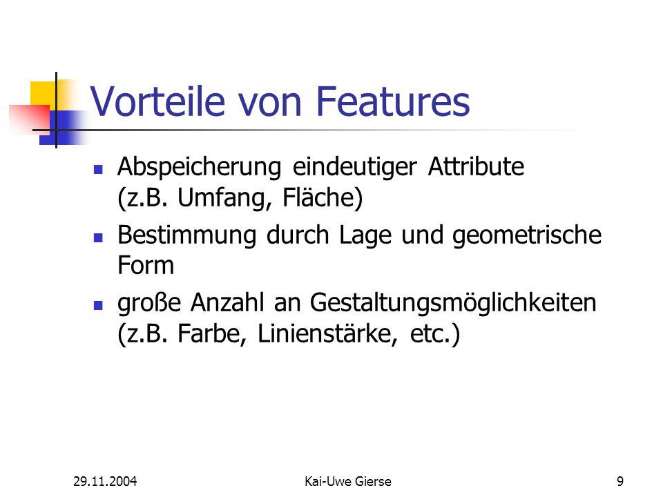 29.11.2004Kai-Uwe Gierse40 Sketch Tool Context Menu Erstellen eines Segments durch Kombination der Funktionen Direction & Length Gleichzeitige Eingabe von Winkel und Strecke