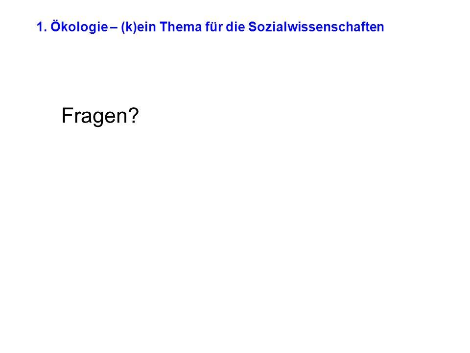 1. Ökologie – (k)ein Thema für die Sozialwissenschaften Fragen?