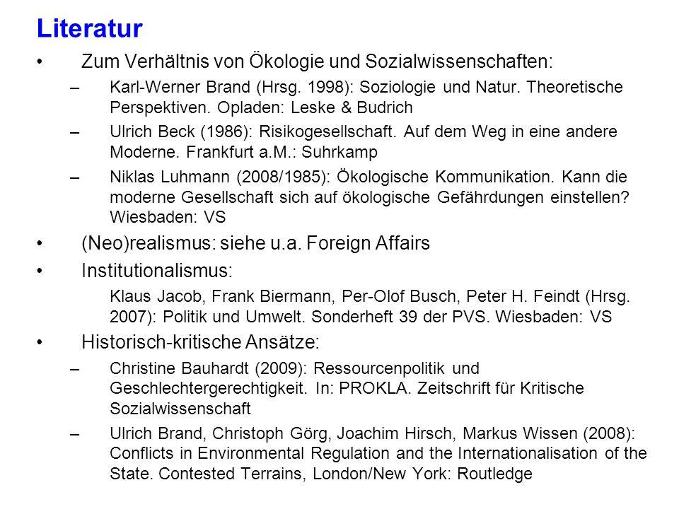 Literatur Zum Verhältnis von Ökologie und Sozialwissenschaften: –Karl-Werner Brand (Hrsg. 1998): Soziologie und Natur. Theoretische Perspektiven. Opla