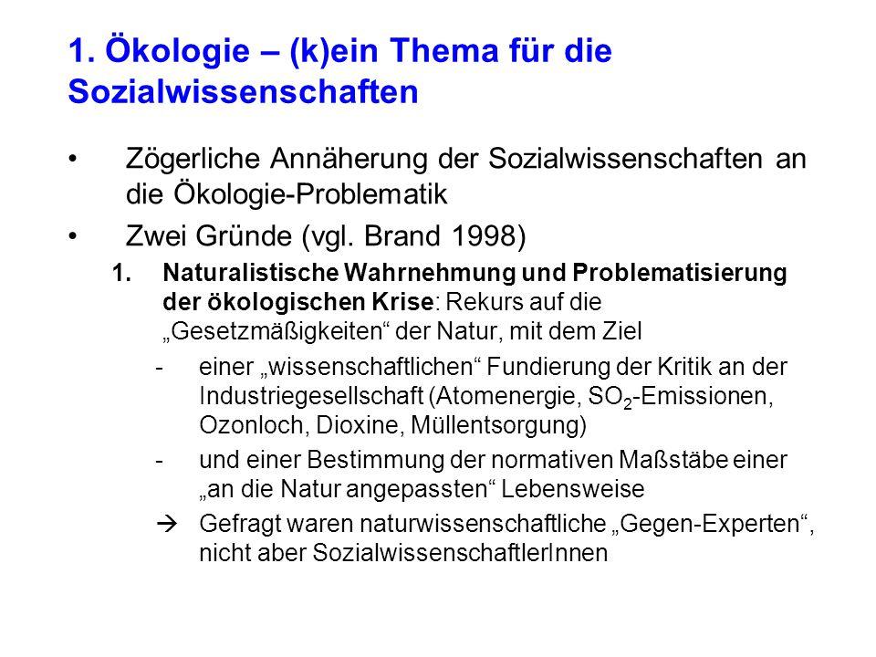 1. Ökologie – (k)ein Thema für die Sozialwissenschaften Zögerliche Annäherung der Sozialwissenschaften an die Ökologie-Problematik Zwei Gründe (vgl. B