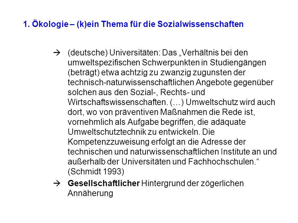"""1. Ökologie – (k)ein Thema für die Sozialwissenschaften  (deutsche) Universitäten: Das """"Verhältnis bei den umweltspezifischen Schwerpunkten in Studie"""