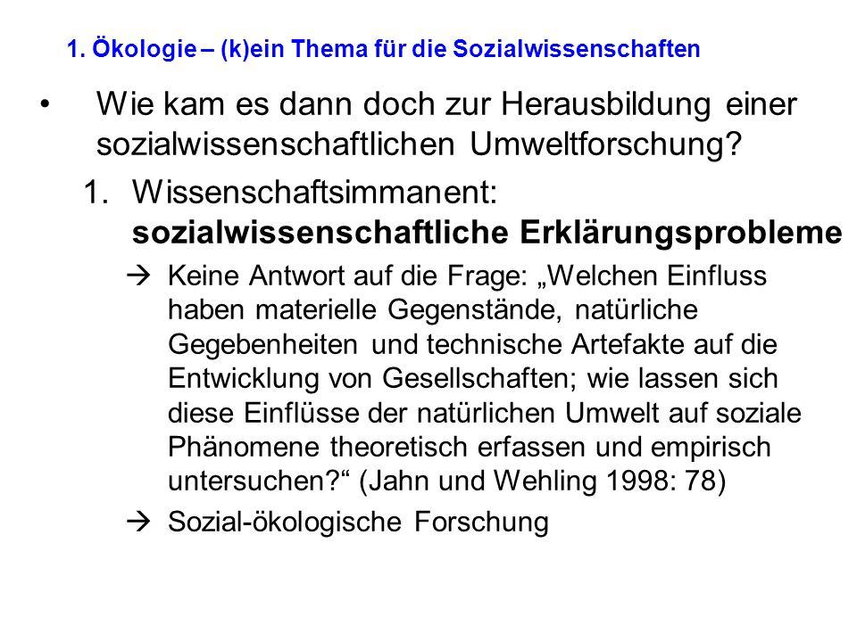 1. Ökologie – (k)ein Thema für die Sozialwissenschaften Wie kam es dann doch zur Herausbildung einer sozialwissenschaftlichen Umweltforschung? 1.Wisse