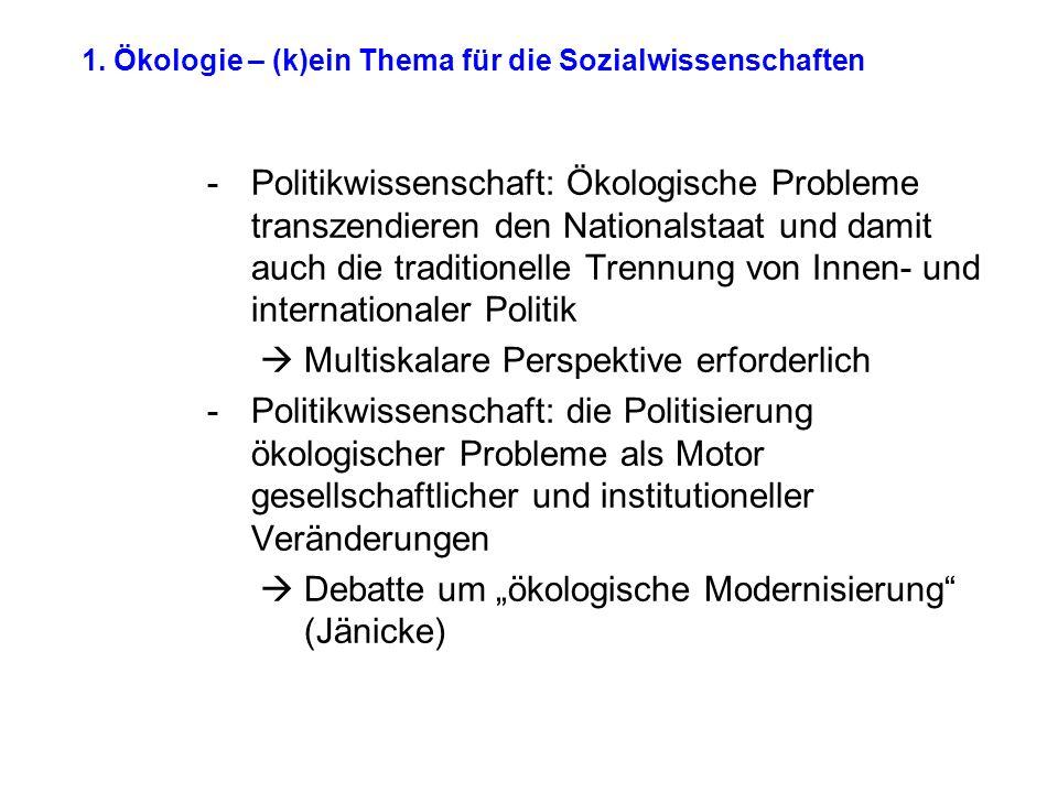 1. Ökologie – (k)ein Thema für die Sozialwissenschaften -Politikwissenschaft: Ökologische Probleme transzendieren den Nationalstaat und damit auch die