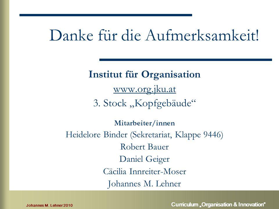 """Johannes M. Lehner 2010 Curriculum """"Organisation & Innovation Danke für die Aufmerksamkeit."""