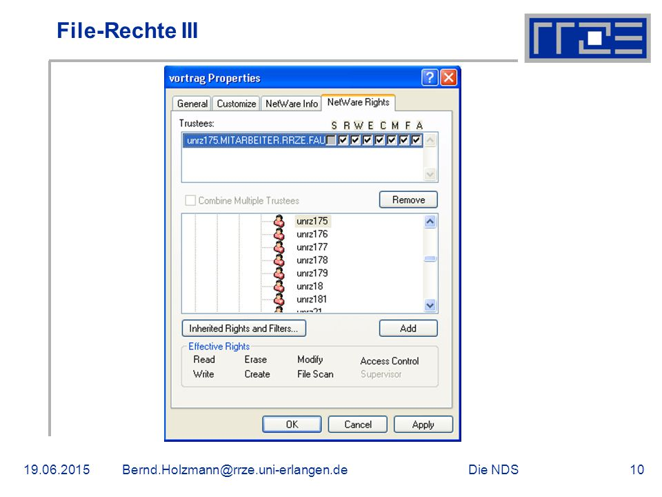 Die NDS19.06.2015Bernd.Holzmann@rrze.uni-erlangen.de10 File-Rechte III