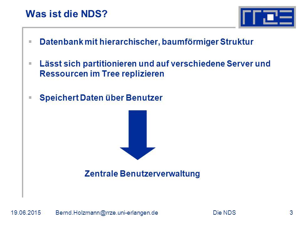 Die NDS19.06.2015Bernd.Holzmann@rrze.uni-erlangen.de3 Was ist die NDS?  Datenbank mit hierarchischer, baumförmiger Struktur  Lässt sich partitionier